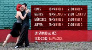 horarios curso 2019 de la escuela de tango en Barcelona Tangóticos